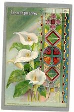 Easter Greeting-CALLA LILY FLOWERS & STAINED GLASS-John Winsch Embossed Postcard