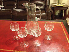 Antique Crystal Water Pitcher and 4 Crystal Glass Set Fostoria