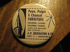 J.P. Redington & Co. Scranton PA Church Pulpit Pews Advertisement Pocket Mirror