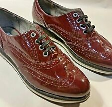 Women Oxford Brogues British Retro College Wingtip Shoes S 7.5 Cranberry RED VLV