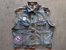 Vintage Lee Denim Vest Harley Davidson Biker Size M L Distressed Motorcycle