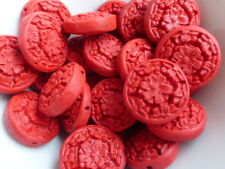 5 x Carved Faux Cinnabar Lacquerware Flower Coin Beads Red 21mm, Resin Beads