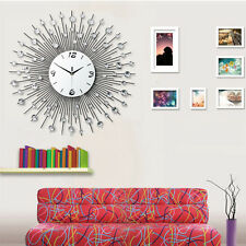2016 Crystal Jeweled Beaded Sunburst Wall Clock Silver Wire Room Decor