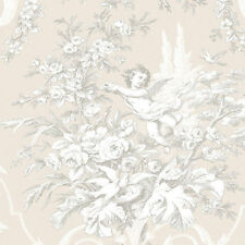 Floral & Cherub Victorian Tan Wallpaper CH22540  Double Roll FREE shipping