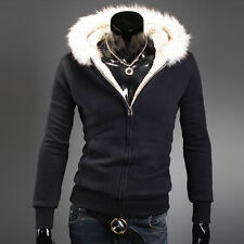 Cheap SIZE XL Winter Mens Cardigan Sweater Fur Wool Lining Hoodie Knitted Jacket