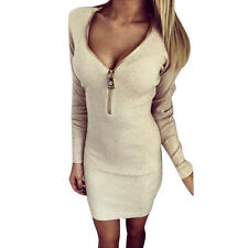 New Womens Winter Long Sleeve Slim Sweater Jumper Knit Ladies Bodycon Mini Dress