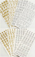 15mm Silver Gold Self Adhesive Alphabet Numbers Glitter Crafts
