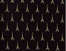 BTY Metallic Gold EIFFEL TOWER Print 100% Cotton Quilt Craft Fabric by the Yard