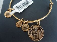 Alex and Ani BECAUSE I LOVE YOU Russian Gold Charm Bangle New W/ Tag Card & Box