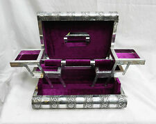 Extra Large Embossed Indian Style Silver Metal Locking Jewellery Box - BNIB