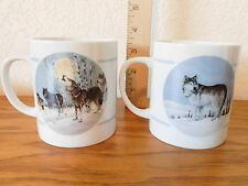 Pair Coffee Cups Mugs Wolf Theme Arctic Majesty Mug Collection Signed Porcelain