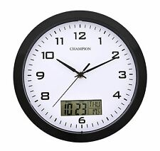 Champion 25cm Quartz wall clock with inset LCD display Day & Date Black WLD1