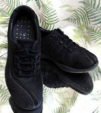 CLARKS BLACK SUEDE LEATHER LACED SNEAKERS WALKING WORK SHOES US WOMENS SZ 8.5 M