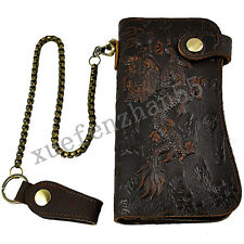 Vintage Retro Men Genuine Cowhide Leather 3D Dragon Embossing Wallet With Chain