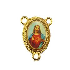 New Sacred Heart Jesus center metal rosary finding part gold metal Catholic