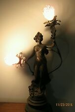 ART DECO NOUVEAU NEWEL POST LAMP SPELTER LADY STATUE SCULPTURE FIGURAL ANTIQUE