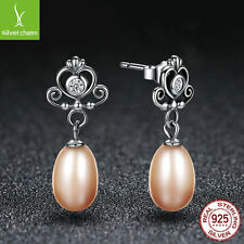 Popular European 925 Sterling Silver Earring With FRESHWATER Crown Pearl Earring