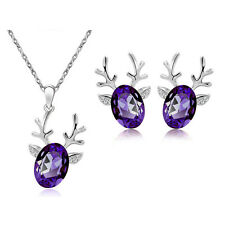 Christmas Party Gift Jewellery Set Purple Deer Earrings & Necklace Pendant S915