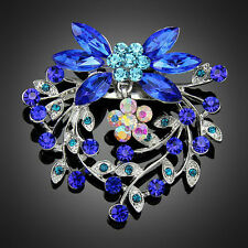Blue Rhinestone Flower Peacock feather Vintage Women Party Jewelry Brooches Pins