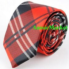 1 x mens tie ladies skinny thin red tartan silk wedding school birthday fashion