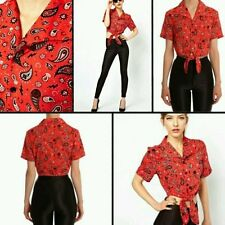Fred Perry Amy winehouse Fire Red Bandana Tie Cropped Shirt Size 16