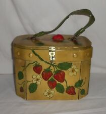 Handmade Hand Painted Vintage Wood Box Purse with Strawberries