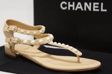 CHANEL PEARL CC LOGO T STRAP LEATHER FLAT THONG SANDALS SHOES 36.5 C/6 C