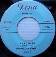 DIMPLES & HAROLD  paradise Waiting at the door 60's Teen DOOWOP popcorn 45 e5717