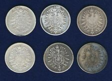 GERMANY EMPIRE  1 MARK SILVER COINS: 1876-C-F-G-J, 1878-J, & 1878-?, LOT OF 6