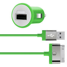 Belkin MIXIT iPhone 4S 4 3G iPad 3 2 1 Fast 2.1Amp/10W Car Charger & Cable Green