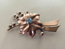 VINTAGE SIGNED HARRY ISKIN BROOCH/PIN ~ 10K GF WITH BLUE GLASS STONE