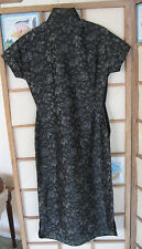 XS-S 1945-50 VTG Qipao Cheong Sam Chinese Dress - SILK Floral Near Black Greys