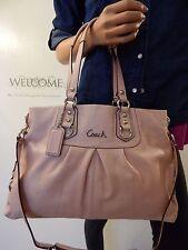 COACH Ashley Ballet Pink Shimmer Leather Satchel Shoulder Bag Tote Purse F15513