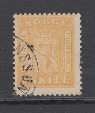 Norway Sc 6 used 1863 2s yellow Coat of Arms, Scarce