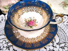 QUEENS ROSINA TEA CUP AND SAUCER MONARCH FLORAL BLUE PATTERN TEACUP WIDE MOUTH