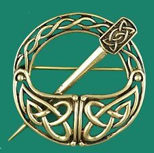 Medieval Gold Celtic Knotwork TARA Brooch Scarf  Kilt  Dancing Pin