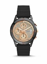 Fossil Modern Pursuit Chronograph BLACK Silicone Women's Watch~Retail $155~NWT