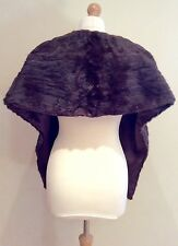 VINTAGE BROWN REAL FUR STOLE SATIN LINING