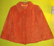 Live A Little Burnt Orange Suede Leather Cropped Lined Swing Jacket Coat Cape M
