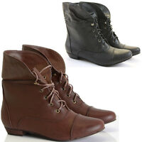 WOMENS LADIES ANKLE BOOTS PIXIE VINTAGE STYLE WINTER LOW HEEL SHORT FLAT SIZE