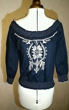 NEW size 12 black white embroidered 3/4 sleeve off shoulder gypsy top