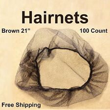 Disposable Food Service Hair Net Spun Bonded Polypropylene Brown 100 per Bag