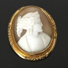 CAMEE ANCIEN Broche Monture Pomponne XIXè ANTIQUE Brooch Shell CAMEO 19thC