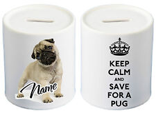 Personalised KEEP CALM Fawn Pug Ceramic Money Box Xmas stocking filler