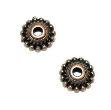 M3162p Antiqued Copper 7mm Dotted Round w Twisted Rope Metal Bead Caps 50/pkg