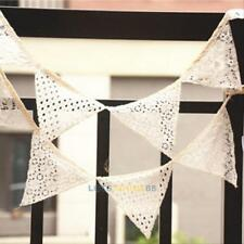2.5M White Lace Birthday Party Pennant Flag Banner Bunting Decoration 10 Flag