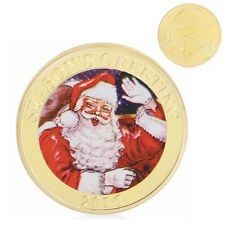 Gold Plated Commemorative Coin Santa Deer Merry Christmas Collection Collectible