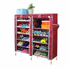 Red Dustproof Double 7 Tier Shoe Rack Cabinet Stand Storage Organizer 36 Pairs