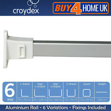 Croydex Modular Triangle White End Chrome Rail - Shower Curtain Aluminium Rod