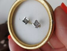 14k AND 10k WHITE GOLD PAVE DIAMONDS (TESTED) PIERCED STUD EARRINGS
